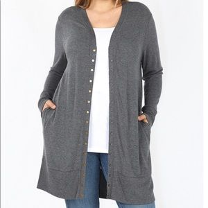 Plus Size Long Snap Button Gray Cardigan Sweater